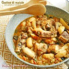 Costine di maiale con patate e verdure g