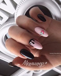 The shape of the nails is beautiful Glossy patterns on matte Classic deep manicure . Trendy Nails, Cute Nails, Aloha Nails, Best Acrylic Nails, Pretty Nail Art, Elegant Nails, Simple Nails, Manicure And Pedicure, Nails Inspiration