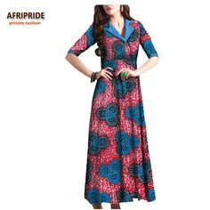 2017 autumn african long women dress AFRIRPIDE private custom half sleeve ankle length casual plaeted dress pure cotton A722588