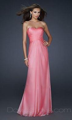 A-Line Strapless Long Chiffon Prom Dress