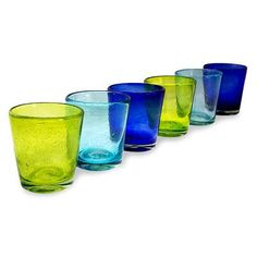 UNICEF Market   Hand Blown Glass Juice Glasses in 3 Colors (Set of 6) - Two by…
