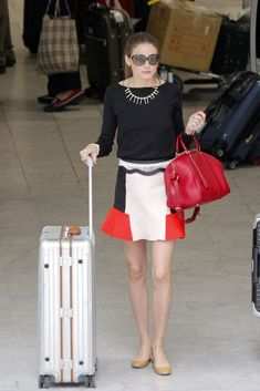 Olivia Palermo, colour blocked fab little skirt