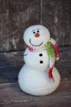 Snowmen Solid wool needle felted Snowman 525 by BearCreekDesign