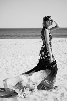 dressed up on the beach