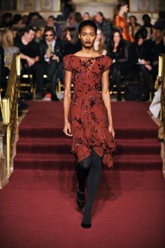 """ZAC POSEN: Zac Posen Runway FW13  ~~ Lots of rich earthy tones and hues I love in this collection -- rusty ochre with delicate patterned detail, """"tie"""" around waist descends into flowing effect -- light uneven but soft layered hem @Zac Posen"""
