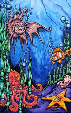 THE DEEP (c) Drew Brophy 1999 - mixed media on Masonite - created for Badass Wakeboard