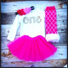 Triple Heart Headband Valentines's Day hot pink tutu Leg Warmers, long sleeve gold glitter one onesie- red headband- girls 1st Birthday outfit- girls first birthday