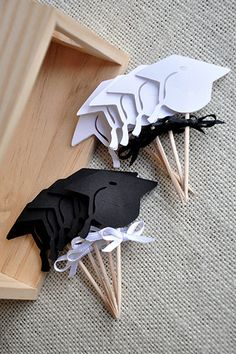 Graduation Cap Cupcake Toppers Black and by courtneyorillion, $5.99
