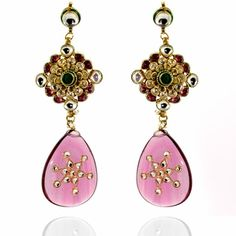 Aza Earrings http://blossomboxjewelry.com/de19.html #jewelry #fashion #india #style #bollywood #designer #earrings #pink
