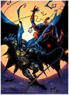 Batman vs Spiderman, not quite possible, considering one is from Marvel and the other one from DC comics, but still a lot more coherent than Batman V Superman, LOL Marvel Wolverine, Dc Comics Vs Marvel, Arte Dc Comics, Marvel Films, Batman Vs Spiderman, Batman Fight, Batman Art, Amazing Spiderman, Lego Batman