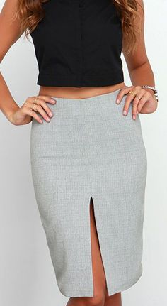 Slit the Difference Grey Pencil Skirt at Lulus.com!