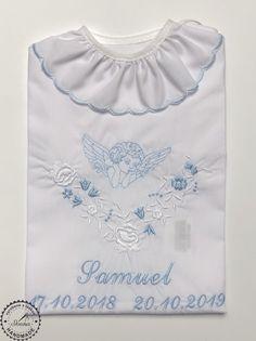 Košiaľka na krst pre chlapca vo farebnom prevedení bielo-modrá Ruffle Blouse, Women, Fashion, Moda, Fashion Styles, Fashion Illustrations, Woman