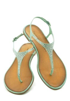 For Old Times Square Sake Sandal - Mint, Solid, Rhinestones, Slingback, Faux Leather, Pastel