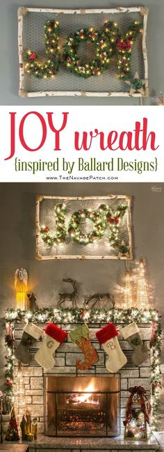 JOY Wreath (Inspired By Ballard Designs) | Diy Christmas decoration | Lighted JOY Wreath | Upcycled holiday wall art | Knock off DIY decor | Birch wood and chicken wire ideas | Upcycled Christmas decoration | Budget friendly crafts | DIY monogram wreaths | Festive home decor | #diy #Christmas #crafts | TheNavagePatch.com