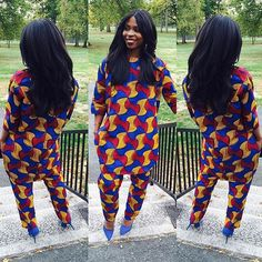 Two pieces Wonderful suit. African Inspired Fashion, Ethnic Fashion, African Fashion, Love Fashion, Fashion Outfits, African Attire, African Wear, African Women, African Dress