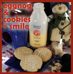Cookies made with Brown Bag Cookie Stamps new 2015 Christmas Cookie Stamps http://www.emersoncreekpottery.com/cookie-stamps.shtml Eggnog by Homestead Creamery in Wirtz VA https://www.facebook.com/Homestead-Creamery-Inc-152846474769734/?fref=ts American Blue Pottery by Emerson Creek http://www.emersoncreekpottery.com/american-blue-ceramic-pottery.shtml