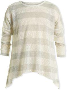White & Gray Marled Stripe Sidetail Top - Toddler & Girls