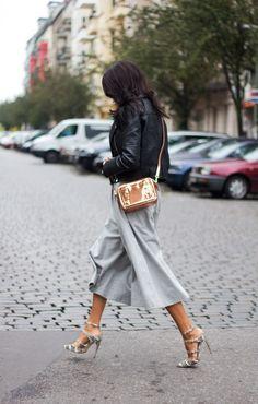 grey wide leg pants + leather jacket