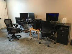 Office space in the newly finished basement.