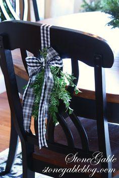 StoneGable: Deck the Halls Christmas Chair, Blue Christmas Decor, French Christmas, Christmas Table Settings, Black Christmas, Country Christmas, All Things Christmas, Christmas Home, Christmas Holidays