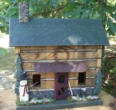 Primitive Lighted Winter Snowman Log Cabin Folk by GooseberryCreek