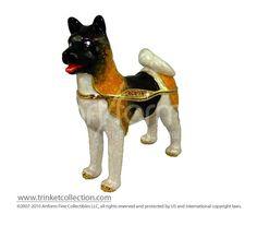 "Objet d'Art Release #310 ""Akita"" Dog Jeweled Trinket Box"