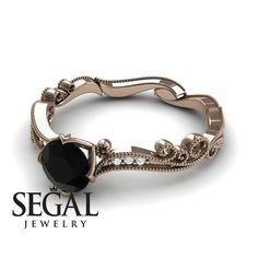 Rose Gold Engagement Ring by Segal Jewelry 1920s Ring, Edwardian Ring, Black Diamond Engagement, Elegant Engagement Rings, Gold Wedding Rings, Black Rings, Unique Rings, Vintage Rings, Nice Things