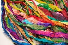 Recycled Silk Sari Strips -  45 yards of Rainbow Fiber. $10.00, via Etsy.