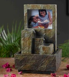 Jeco Inc. Polyresin and Fiberglass Tiered Photo Frame Tabletop Fountain Indoor Waterfall Fountain, Small Water Fountain, Indoor Fountain, Fountain Ideas, Backyard Water Fountains, Indoor Water Features, Tabletop Water Fountain, Buddha Decor, Creative Wall Decor