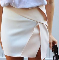 Blush color origami folded skirt