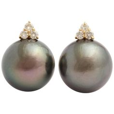 South Sea Cultured Pearl Diamond Yellow Gold Clip-On Earrings | From a unique collection of vintage clip-on earrings at https://www.1stdibs.com/jewelry/earrings/clip-on-earrings/