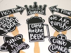 8 Chalkboard Photo booth Props  PLUS One Chalk Markers -  Chalkboard Photo Props with Speech Bubbles on Etsy, $29.00