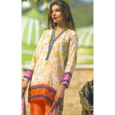 Casual Wear Yellow & Orange Salwar Suit  - FA398-2007