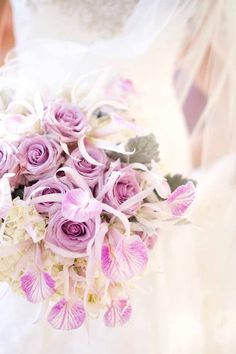 Airy light purple and white bridal bouquet, created by Passion Roots, Hawaii Wedding Florist. www.passionroots.com