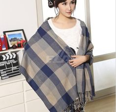 fashion cashmere wool scarf bufanda Tassel shawl pashmina bufandas Spain Thick Plaid women winter scarves