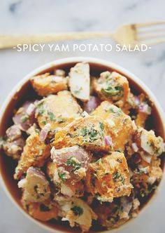 SPICY YAM POTATO SALAD // The Kitchy Kitchen