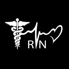 Nurse RN Heartebeat Caduceus Vinyl Decal Sticker