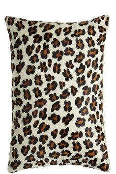 Leopard Printed Cowhair Pillow in Panthere Blanche