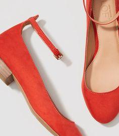 LOFT Block Heel Flats in Dusty Paprika Red