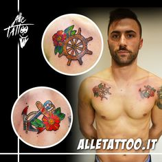 traditional tattoo with anchor, helm and cherryblossom made by Alle Tattoo