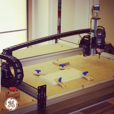 This CNC mill is an open-source machine that can sculpt metal, plasHc, and wood right at home. It allows for quick creaHon, iteraHon, and improvements to your designs. Maker Labs, General Electric, Open Source, Design Thinking, Garages, Science And Technology, Cnc, Your Design, 3d Printing
