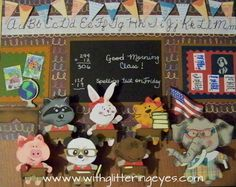 Critter vignette using Teddy Bear Parade and other cartridges to create a classroom of animals.  All details and how-to info on blog post withglitteringeyes.com