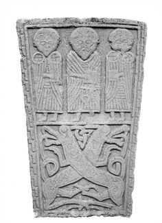 """One of the 2 """"Pictish class III cross-slabs"""" from St. Peters church in Invergowrie. The three figures are possibly apostles. This is now safely looked after by the National Museum of Scotland. Celtic Symbols, Celtic Art, Celtic Nations, St Peter's Church, Celtic Culture, Iron Age, Medieval Art, Celtic Designs, Dark Ages"""