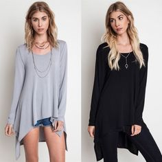 """""""Sputnik"""" Long Sleeve Asymmetric Hem Top Long sleeve top with an asymmetric high low hem. Available in black and silver. This listing is for the BLACK. Brand new. True to size. NO TRADES. Bare Anthology Tops"""