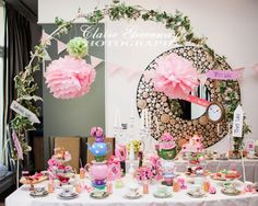 Alice in Wonderland themed Baby Shower party in Chelsea, London by Claire Greenway Photography #aliceinwonderland  #madhatter #teaparty #babyshower #cake #china #teacup #vintage #floral