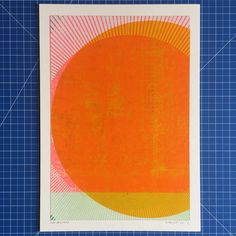 'Day Breaker' by Kate Gibb. Six-layer silkscreen print on Archival Board (edition of six, made for 'Fractions /adventures in printmaking', our Art Trail 2017 exhibition. Online Print Shop, Silk Screen Printing, Letterpress Printing, Affordable Art, Linocut Prints, Japanese Art, Graphic Illustration, Printmaking, Abstract