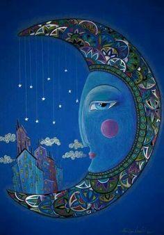 Gentle moon ~m Sun Moon Stars, Sun And Stars, You Are My Moon, Moon Fairy, Moon Dance, Moon Illustration, Moon Pictures, Good Night Moon, Moon Magic