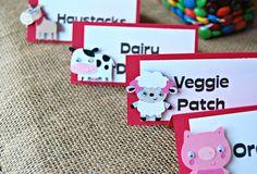 Farm Barnyard Birthday Party Food Buffet Name Tags