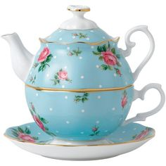 Royal Albert Tea for One 3-pc. Tea Set, Blue ($100) ❤ liked on Polyvore featuring home, kitchen & dining, teapots, blue, royal albert teapot, tea pot, royal albert tea set, blue tea pot and 3 piece tea set