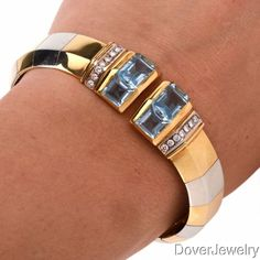 Modern 14.34 Blue Topaz Diamond 18K Gold Cuff Bangle Bracelet 61.7 Grams NR